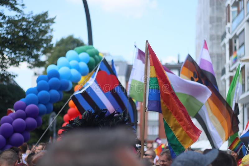 CSD Parade 2018 Hamburg, Germany LGBTIQ Demo. CSD Parade 2018 Hamburg, Germany Demo for LGBTIQ Rights stock images
