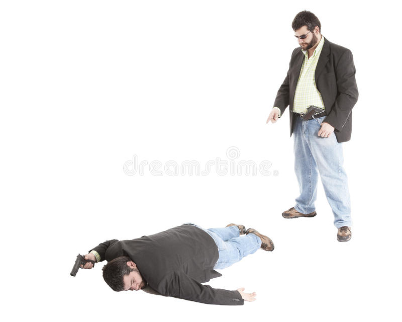 CSI points to dead body stock photo