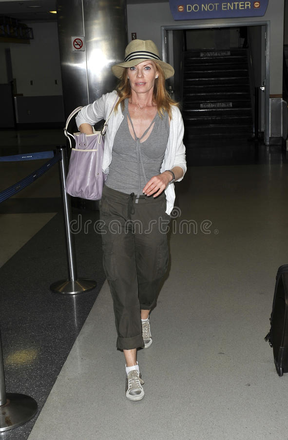 CSI star Marg Helgenberger is seen at LAX
