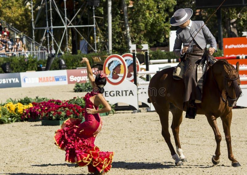 CSIO BARCELONA 2014 - FLAMENCO RUITERtentoonstelling stock afbeelding