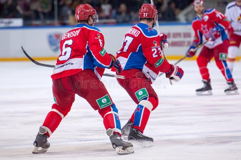 CSKA team on faceoff royalty free stock image
