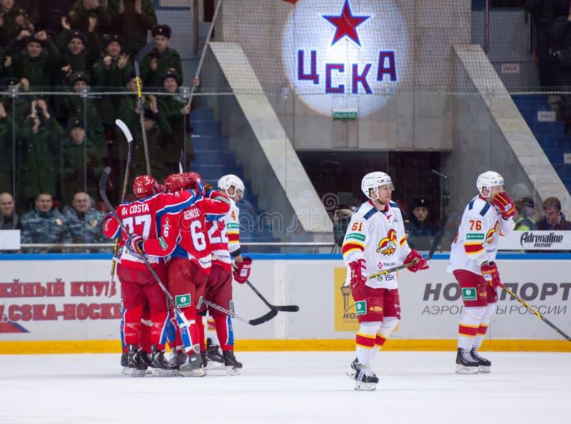 CSKA team rejoice, Yokerit dissapoint royalty free stock photos