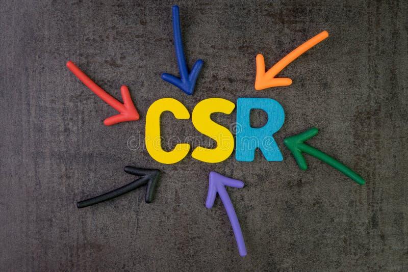 CSR,公司的社会责任概念,多颜色箭头 图库摄影
