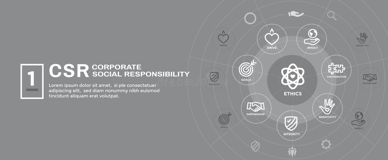 CSR-κοινωνικές σύνολο εικονιδίων εμβλημάτων Ιστού ευθύνης και απαγόρευση επιγραφών Ιστού ελεύθερη απεικόνιση δικαιώματος