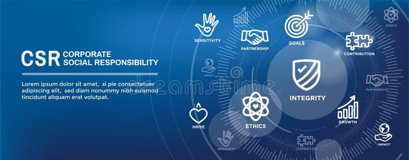 CSR-κοινωνικές σύνολο εικονιδίων εμβλημάτων Ιστού ευθύνης και απαγόρευση επιγραφών Ιστού διανυσματική απεικόνιση