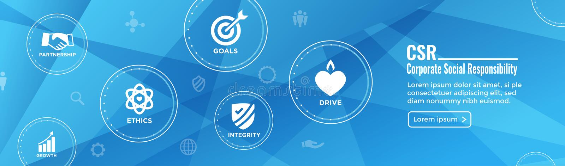CSR - Установленный значок w знамени сети корпоративной социальной ответственности - Ho иллюстрация штока