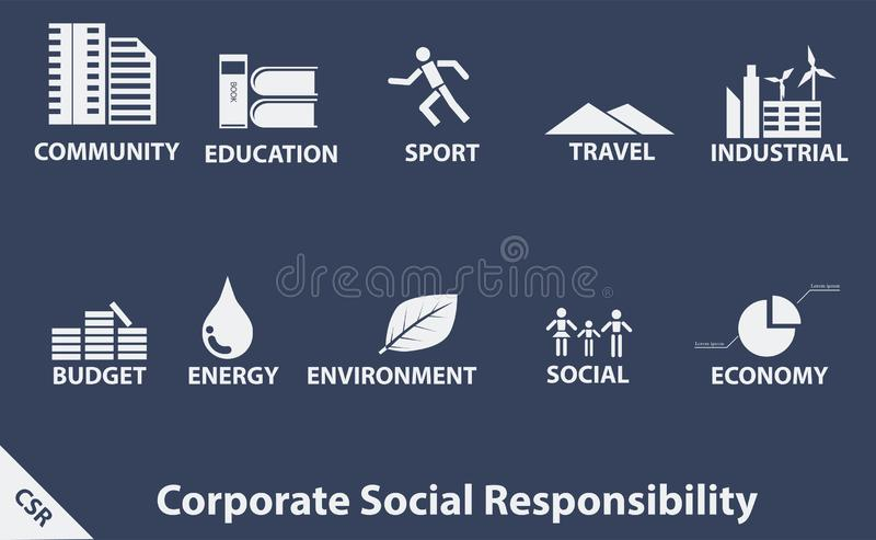 CSR blanc d'icône sur le fond bleu-foncé illustration de vecteur