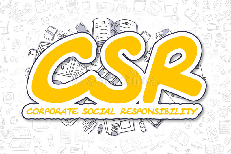 Csr - Cartoon Yellow Inscription. Business Concept. stock illustration