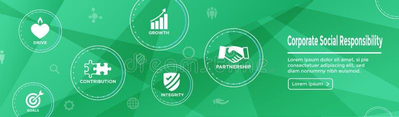 CSR - Collectief sociaal Geplaatst de bannerw Pictogram van het verantwoordelijkheidsweb - Ho royalty-vrije illustratie