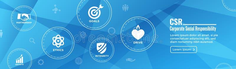 CSR - Collectief sociaal Geplaatst de bannerw Pictogram van het verantwoordelijkheidsweb - Ho stock illustratie
