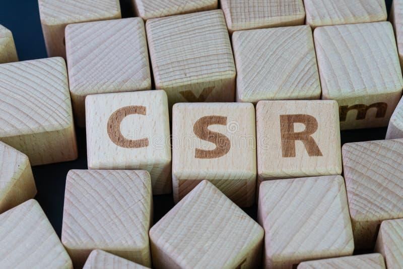 CSR, Collectieve sociale verantwoordelijkheid, collectieve duurzaamheid, duurzame zaken, collectief gewetensconcept, kubeert hout stock afbeelding