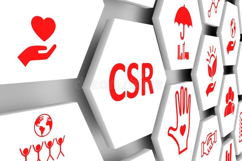 CSR concept. Cell background 3d illustration royalty free illustration