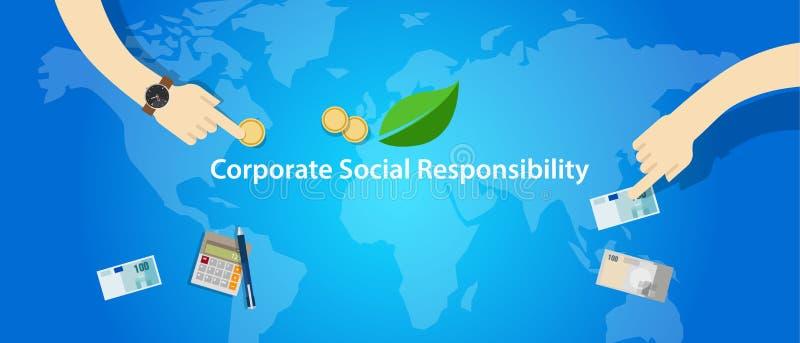 CSR corporate social responsibility company business help community vector illustration