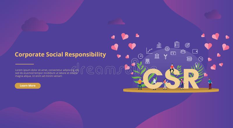 Csr corporate social responsibility concept big text with people for website template banner design with modern purple color - royalty free illustration