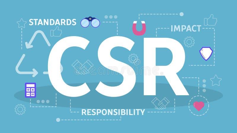 CSR or corporate social responsibility concept. Idea of self regulation stock illustration