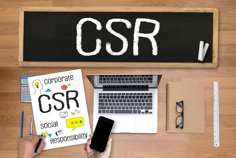 CSR da responsabilidade social empresarial e sustentabilidade Respon fotos de stock royalty free