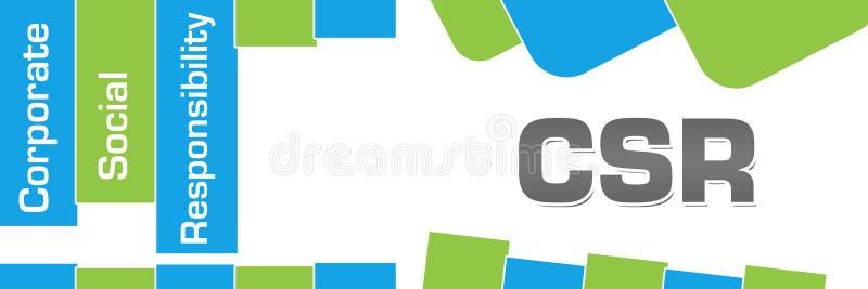 CSR - El extracto azulverde de la responsabilidad social corporativa forma horizontal stock de ilustración
