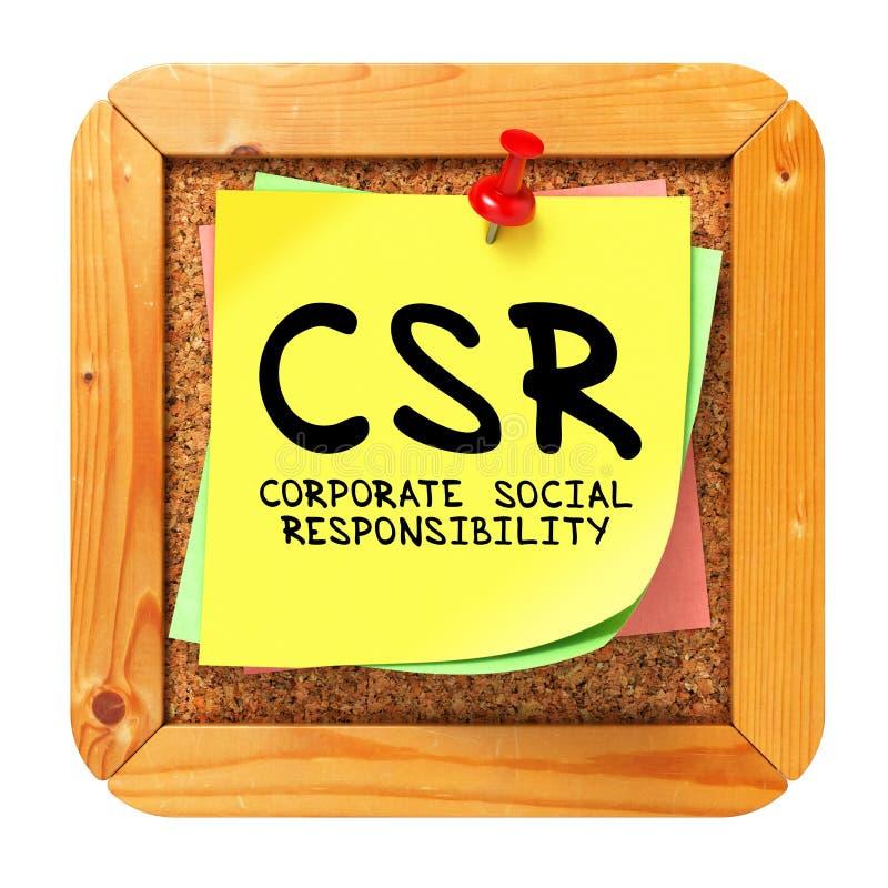 CSR. Gele Sticker op Bulletin. royalty-vrije stock afbeeldingen