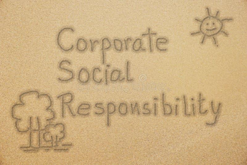 CSR handwriting na świetnym piasku obrazy stock