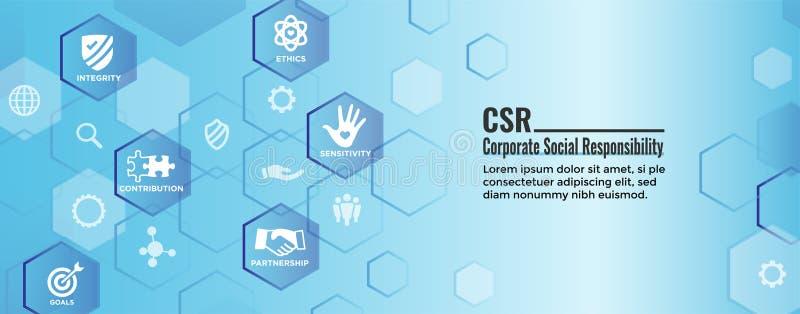 CSR - Icono de la bandera w del web de la responsabilidad social corporativa fijado - Ho stock de ilustración