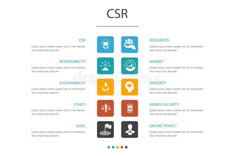 CSR Infographic 10 option concept vector illustration