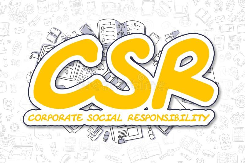 Csr - inscripción amarilla de la historieta Concepto del asunto stock de ilustración