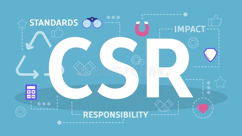 CSR o concepto de la responsabilidad social corporativa Idea de la autorregulaci?n stock de ilustración