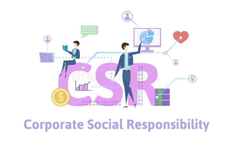 CSR, responsabilidad social corporativa Tabla del concepto con palabras claves, letras e iconos Ejemplo plano coloreado del vecto stock de ilustración