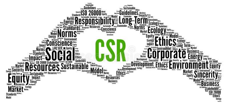 CSR, woordwolk sociale verantwoordelijkheid van bedrijven royalty-vrije illustratie