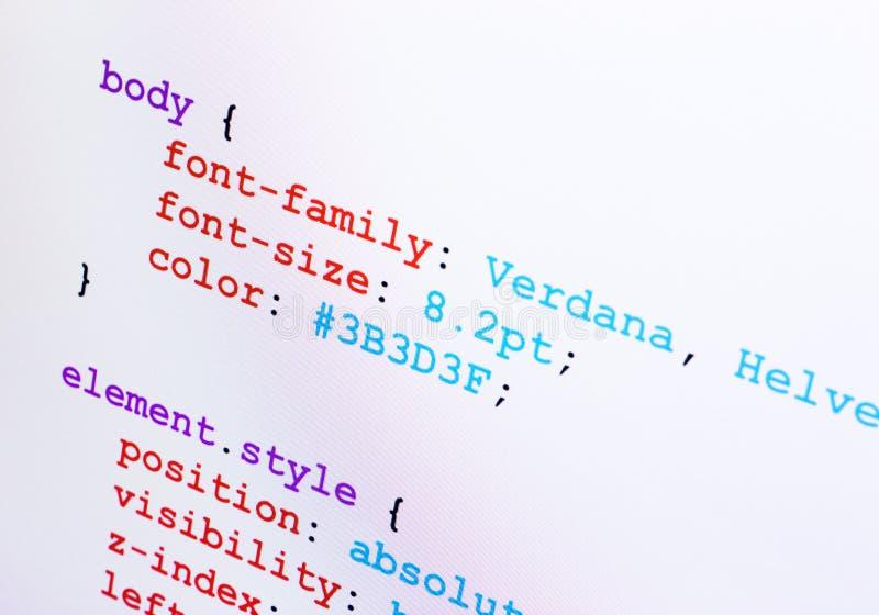 CSS διαγώνια όψη κινηματογραφήσεων σε πρώτο πλάνο κωδικού πηγής στοκ φωτογραφίες