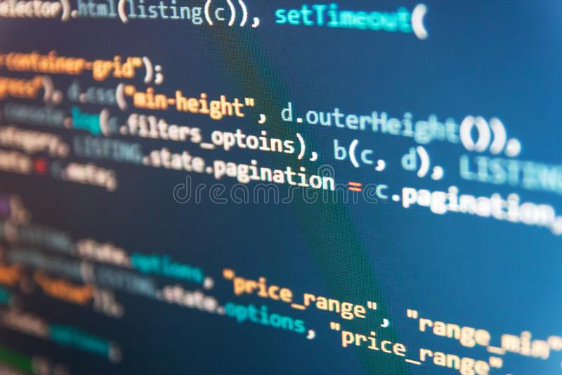 Css3 code on a colorful background. Programmer typing new lines of HTML code. Software development creating projects. Abstract. Css3 code on a colorful stock photography