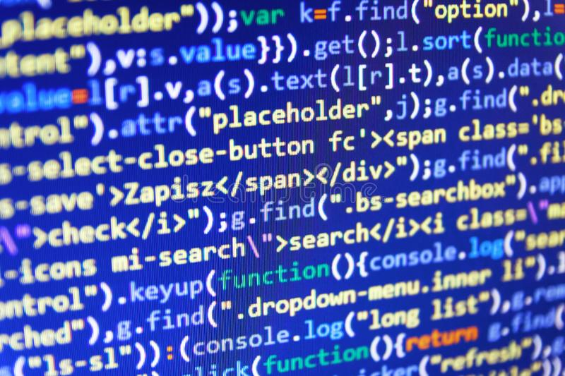 CSS, JavaScript and HTML usage. Writing programming functions royalty free stock photography