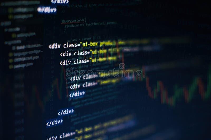 Css-, javaScript- och HTML-anv?ndning Bildsk?rmcloseup av funktionsk?llkoden Abstrakt IT-teknologibakgrund Programvaruk?llkod arkivbilder