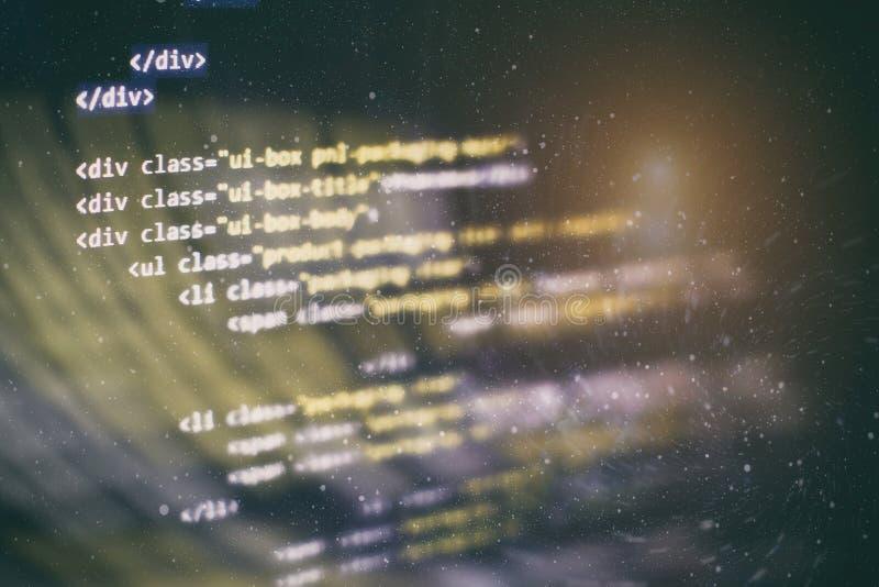 Css-, Javascript- und HTML-Verwendung ?berwachen Sie Nahaufnahme des Funktionsquellcodes Abstrakter IT-Technologiehintergrund Sof stockfoto