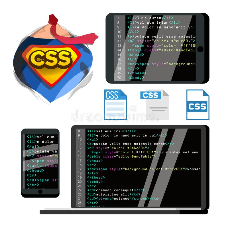 CSS Programming Language Vector Flat Illustrations Set royalty free illustration