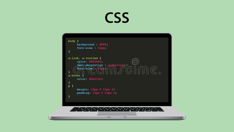 Css som applåderar stilarket som programmerar med bärbar dator- och skriftkod royaltyfri illustrationer