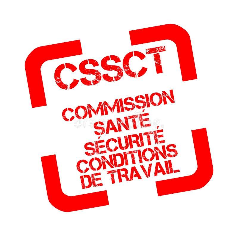 CSSCT, hälsa, säkerhet och arbetsförhållanden bemyndigar den rubber stämpeln i franskt vektor illustrationer