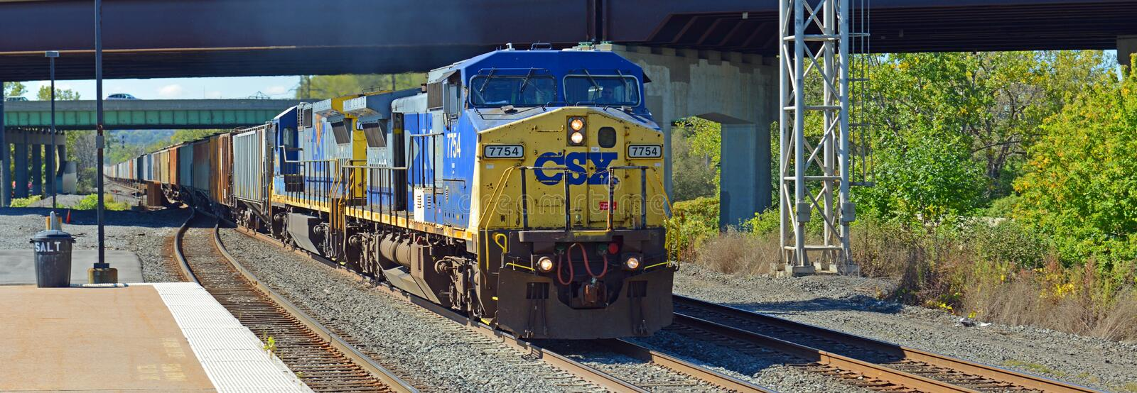 CSX Diesel Locomotive, Syracuse, New York, USA royalty free stock photo
