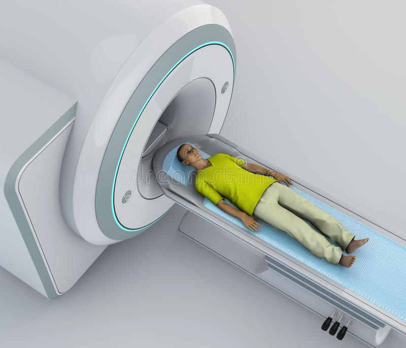 CT scan, computed tomography scan. Young patient lying down ready for a computerized axial tomography vector illustration