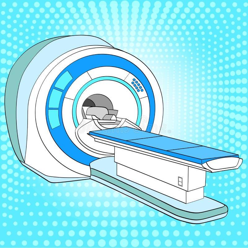 CT scanner automatiseerde tomografiescanner, het magnetic resonance imagingsmachine van MRI, medische apparatuur Pop-artrooster royalty-vrije illustratie