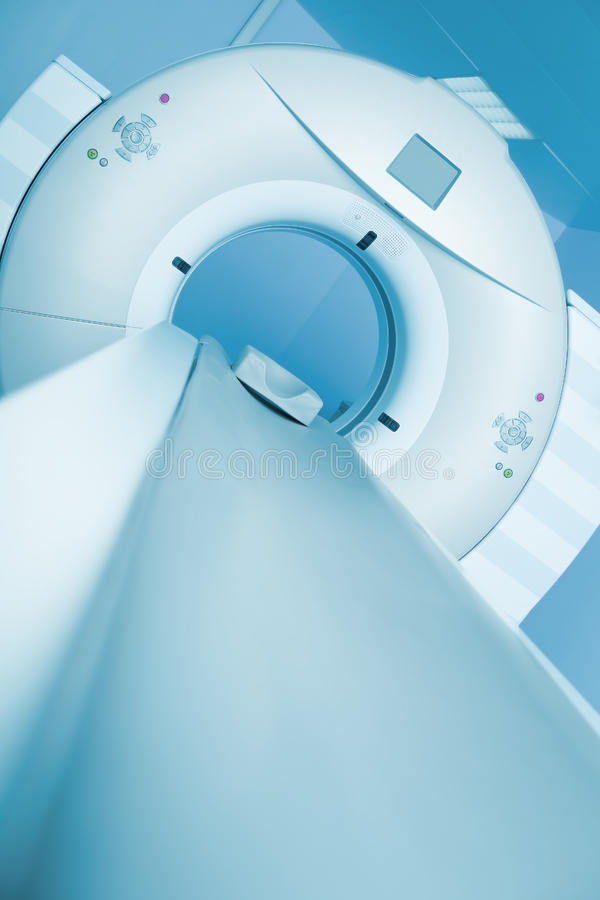 CT scanner is ready to receive the patient.  royalty free stock photography