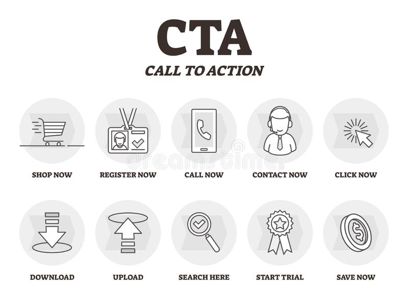 CTA or Call to action vector illustration. Marketing advertising strategy . CTA or Call to action vector illustration. Marketing advertising strategy. BW vector illustration