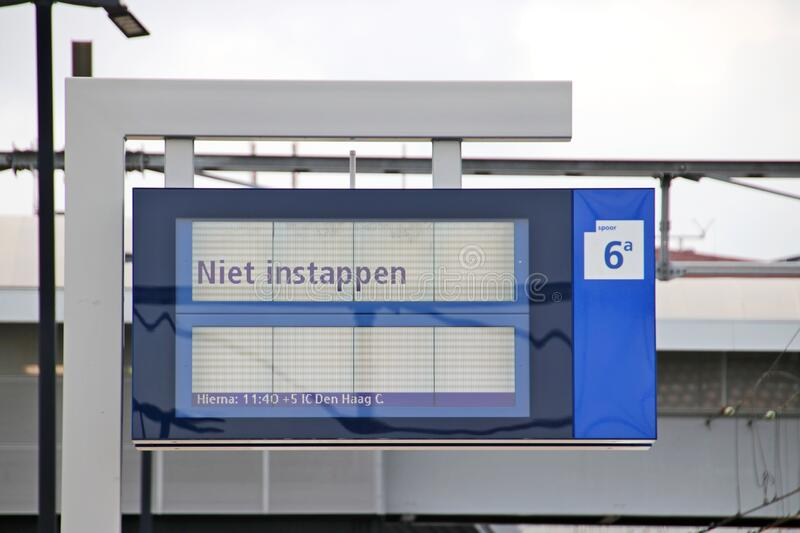 CTA information panel on platform of Amersfoort central station with text `Niet Instappen`which means do not board in English stock image