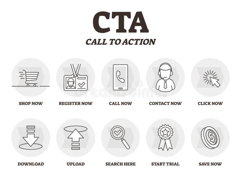 CTA o chiamata all'illustrazione di vettore di azione Commercializzazione annunciando strategia illustrazione vettoriale