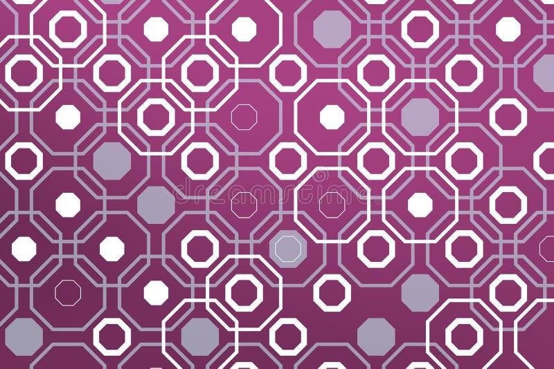 Ctagones blancos sobre contraluz violeta geométrico stock de ilustración
