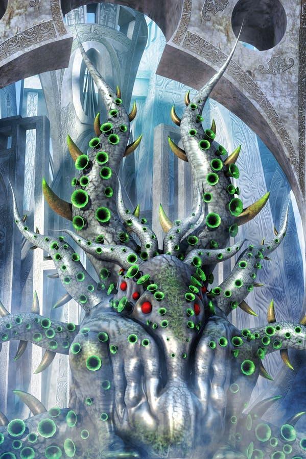 Cthulhu fantazi potwora góry obłąkanie royalty ilustracja