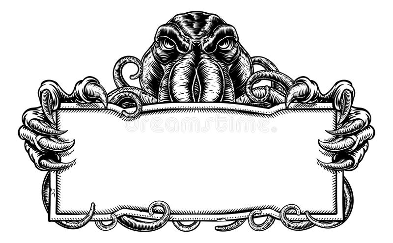 Cthulhu gigantiskt tappningtecken vektor illustrationer