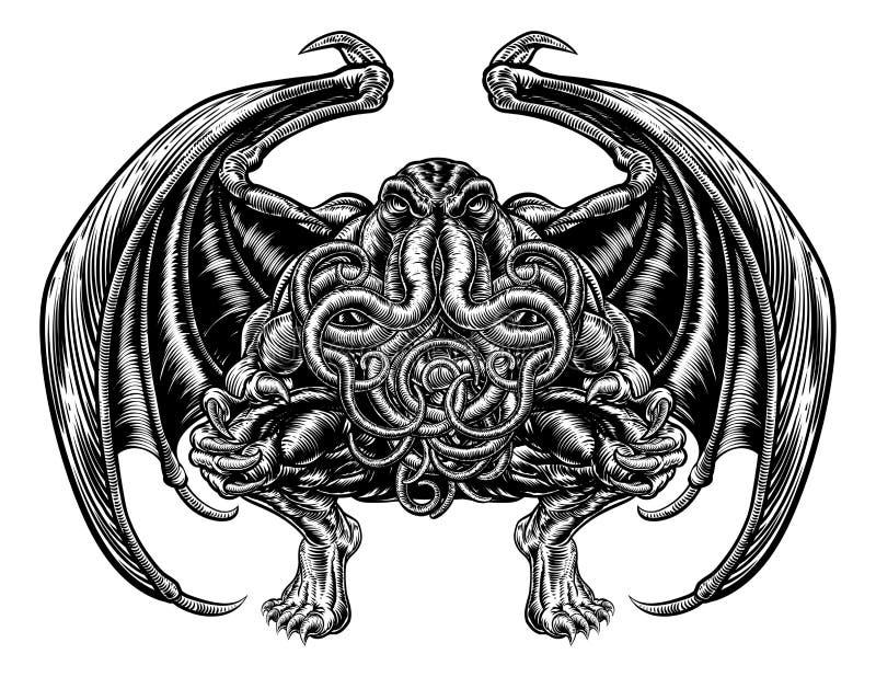 Cthulhu monster vektor illustrationer