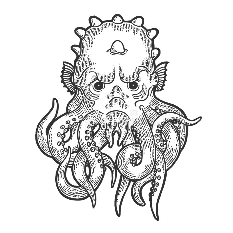 Cthulhu myth creature engraving vector royalty free illustration