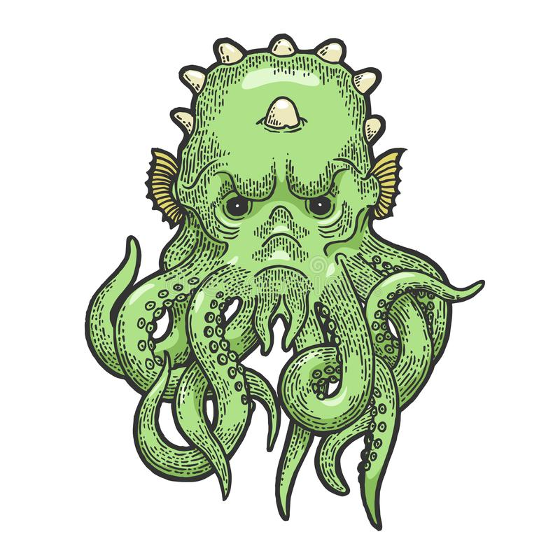 Cthulhu myth creature sketch engraving vector royalty free illustration